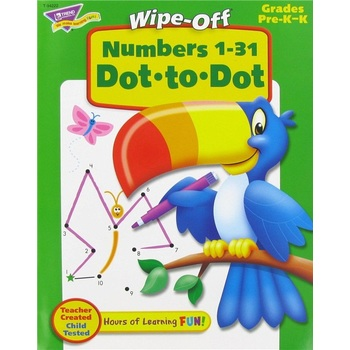 TREND, Numbers 1-31 Dot-to-Dot Wipe-Off Book, 28 Pages, Grades PreK-K