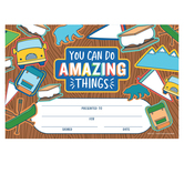 School Shop, You Can Do Amazing Things Certificate, 8.5 x 5.5 Inches, Multi-Colored, Pack of 30
