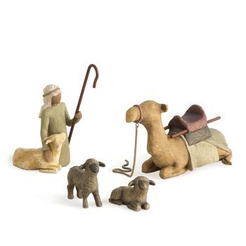 Willow Tree, Shepherd & Stable Animals - Nativity