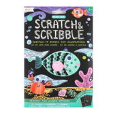 Ooly, Scratch & Scribble Mini Art Kit, Friendly Fish, 4 x 6 Inches, 14 Pieces