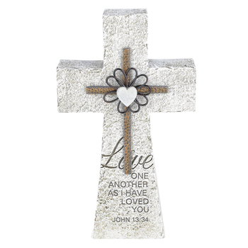 John 13:34 Love One Another Wall Cross, Resin, Natural Stone Color, 10 1/4 x 6 x 2 inches