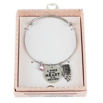 Modern Grace, A Piece of My Heart Is In Heaven Charm Bracelet, Zinc Alloy & Brass, Silver