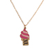 Glitter and Grace, Sweet Jesus Ice Cream Cone Necklace and Earring Set, Pink and Gold, 16 inch Chain, 3 Pieces