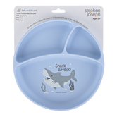 Stephen Joseph, Shark Suction Cup Plate, Silicone, Light Blue, 8 inches