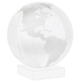 Frosted Decorative World Globe, Miniature, 3.75 x 3.75  x 4.50 Inches
