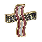 H.J. Sherman, American Flag Cross Lapel Pin, Gold Plated, 7/8 x 5/8 inches