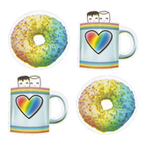 Schoolgirl Style, Industrial Café Donuts and Cocoa Mugs Large Cut-Outs, 5 x 5 Inches, 36 Pieces