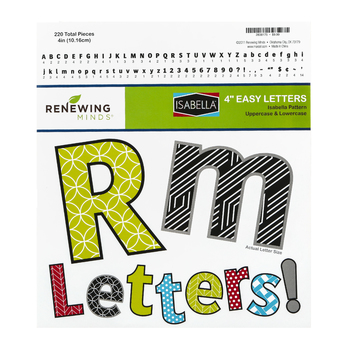 Isabella Collection, Pattern Bulletin Board Letters, Upper and Lowercase, 4 Inches, Assorted Colors, 216 Pieces