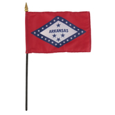 Annin & Company, Arkansas State Flag with Rod, 4 x 6 Inches, Multi-Colored, 2 Pieces