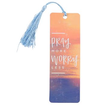 Salt & Light, Pray More Worry Less Tassel Bookmark, 2 1/4 x 7 inches