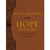 Hope For Each Day: Large Deluxe Edition, by Billy Graham, Imitation Leather, Brown