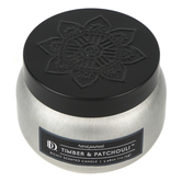 Darsee & David's, Timber & Patchouli Candle Tin, Silver and Black, 3.98 ounces