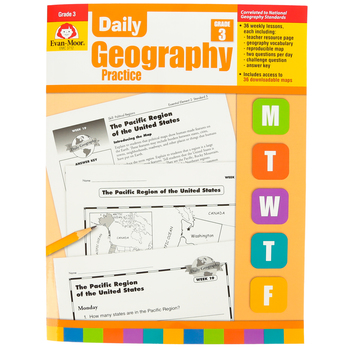 Evan-Moor, Daily Geography Practice Teacher's Edition, Paperback, 160 Pages, Grade 3