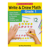Scholastic, Write and Draw Math Grade 1 Activity Book, Paperback, 64 Pages, First Grade