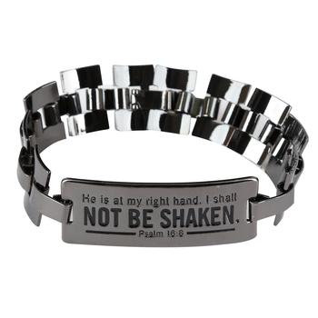 Soul Anchor, Psalm 16:8 Shall Not Be Shaken Watch Link Bracelet, Zinc Alloy, Gunmetal Gray