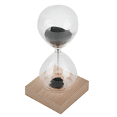 Black Sand Hourglass with Magnetic Wood Base, 3 1/16 x 6 Inches