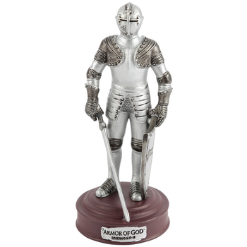Roman, Inc., Armor of God Figurine, Resin, Silver-Toned, 5 inches
