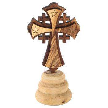 Logos Trading Post, Jerusalem Cross, Olive Wood, 4 1/4 x 2 1/4 Inches