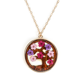 Faith in Bloom, Psalm 1:3 Wooden Tree and Floral Pendant Necklace, Zinc Alloy, Gold, 20 Inch Chain