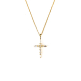 H.J. Sherman, Gold Cross With CZ Accents, 18K Gold Over Silver, 18 inches
