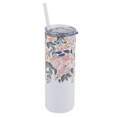 Mary Square, Floral Stainless Skinny Tumbler with Lid and Straw, Stainless Steel, Autumn Blossom, 20 Ounces