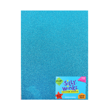 Silly Winks, Bright Glitter Foam Sheet Pack, 9 x 12 inches, 6 count