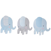 Brother Sister Design Studio, Blue & Grey Plaid Elephant Table Decor, 5 1/4 x 11 3/4 Inches, Pack of 3
