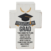 Dicksons, Jeremiah 29:11 Congratulations Grad Tabletop Cross, Wood, White, 4 x 2 3/4 x 1 inches