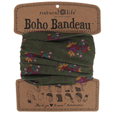 Natural Life, Floral Boho Bandeau, Polyester, Olive & Magenta, 18 x 10 inches