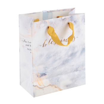 DaySpring, Blessings Marble Look Gift Bag with Tissue, White and Gold, 5 1/4 x 6 3/4 x 2 3/4   inches