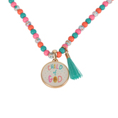 Glitter and Grace, 1 John 3:1 Child of God Beaded Necklace with Tassel, Pink/Orange/Turquoise, 16 inch Chain
