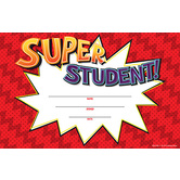 Superheroes Collection, Super Student! Certificate, 8.5 x 5.5 Inches, Red, Pack of 30