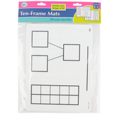 Didax, Write-On/Wipe-Off Ten-Frame Mats, Set of 10, 9 x 12-inches, Grades K-3