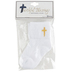 Roman Inc., Baptism Socks with Embroidered Cross for Baby, White with Gold
