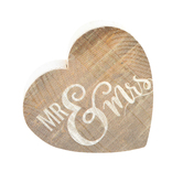 P. Graham Dunn, Mr & Mrs Heart Tabletop Plaque, Pine Wood, Brown & White, 3 1/2 x 3 1/4 inches