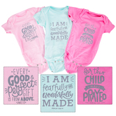 Brother Sister Design Studio, Scripture Onesie Set, Pink, Light Pink, & Tea, 1 Each of 3 Designs