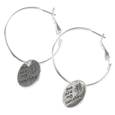 Bella Grace, You Are My Sunshine Dangle Hoop Earrings, Zinc Alloy, Silver-tone