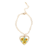 Faith in Bloom, Dangling Heart Charm Bracelet, Zinc Alloy and Resin, Antique Gold