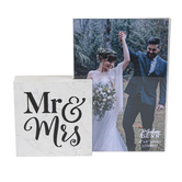 P. Graham Dunn, Mr & Mrs Photo Block Frame, White & Black, Holds 4 x 6 inch Photo, 6 x 6 1/2 inches