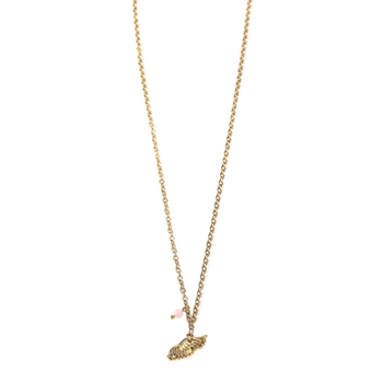 Modern Grace, Isaiah 40:31 Angel Wing Pendant with Bead Necklace, Gold and Pink, 20 Inches