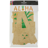 Luau Party Aloha Glitter Banner with Pineapple, Gold, 10 x 50 Inches, 1 Each