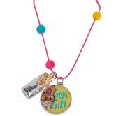 Glitter and Grace, God's Girl Cord Necklace with Glass Bottle Charm, Pink and Silver, 16 inch Cord