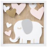Elephant & Hearts Wall Decor, MDF, 10 x 10 x 1 1/2 Inches