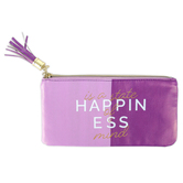 the Paper Studio, Happiness Is A State Of Mind Pencil Pouch, Purple, 4 1/4 x 8 inches