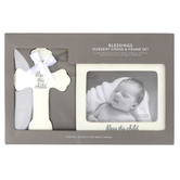 C.R. Gibson, Bless This Child Cross and Frame Gift Set, Resin, White, 7 x 5 1/2 inches