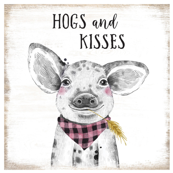 Open Road Brands, Hogs and Kisses Wall Decor, MDF, Black and White, 13 x 13 x 1/4 inches