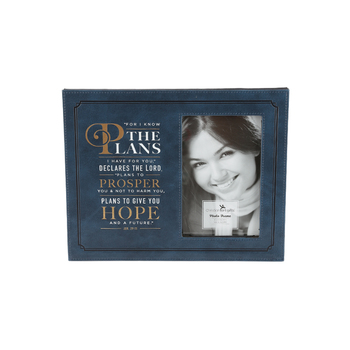 Christian Art Gifts, Jeremiah 29:11 For I Know The Plans Photo Frame, LuxLeather, Navy, 4 x 6   inches