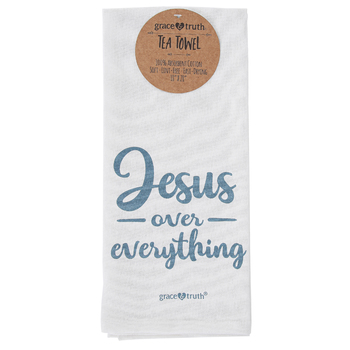 Kerusso, grace & truth®, Jesus Over Everything Tea Towel, Cotton, White, 18 x 28 inches