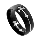 Spirit & Truth, Removable Double Cross, Men's Ring, Black and Stainless Steel, Sizes 8-12