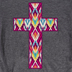 Southern Grace, Embroidered Aztec Cross, Kid's Short Sleeve T-shirt, Charcoal Gray, Ages 6-7